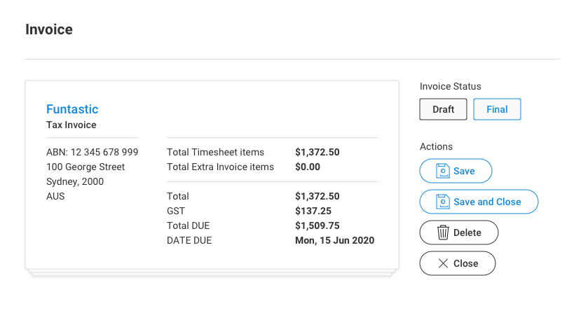 Invoice time and expense records